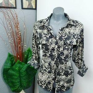 Tops - Button Down Shirt Snake Skin Print Size Large